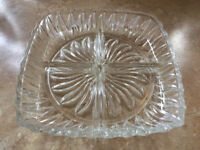 Heavy glass serving dish with 4 compartments.