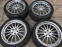 "MSW 18"" alloy wheels. 5 x 110 good tyres Vauxhall Saab Astra vectra zafira 225/45/18"