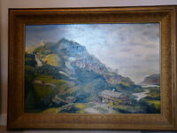 Swiss Scene Mountain Valley Oil Painting