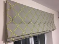 Blackout Roman Blinds - green, and white - left hand chrome chain - 135 x 131