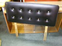 Black Faux Leather Single Headboard with Metal Button Back Studs