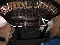 Wicker Moses basket in good shape with stand