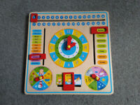Kids toy, helps learn time, dates, and describing weather. Measures 30cm x 30cm