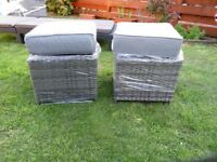 Rattan Garden GREY Stools with cousions - New & Sealed