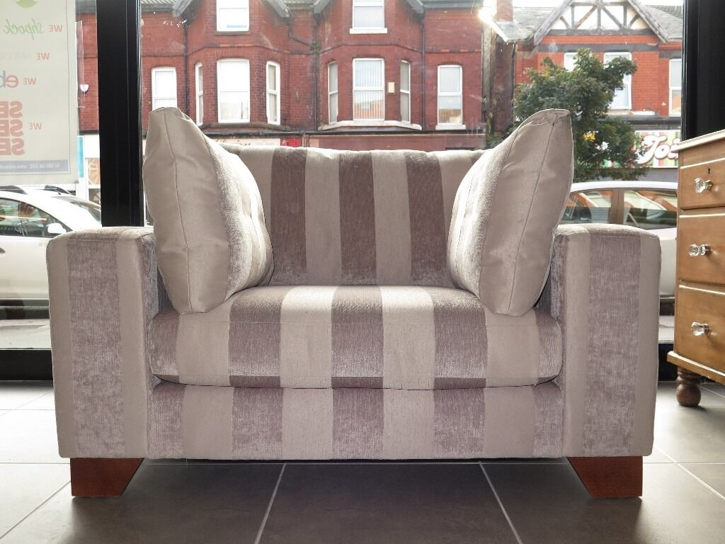 Mink Taupe Striped Next Snuggle Chair Loveseat Armchair