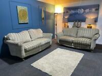 SCS gold and silver velvet flock stripe suite 3 seater sofas x 2