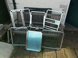 Large bird cage approx 24x24th swing feeders pull out seed