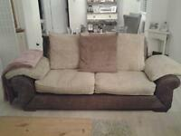 SCS large 3 seater sofa, cream fawn and brown cushions.. in very good condition. £100 pick up only