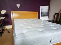 Double bed and mattress. Wooden frame, metal subframe, solid sturdy