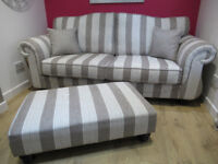 Brand New Ex Display striped 3 seater sofa and footstool in cream silver. RRP £1068 for both