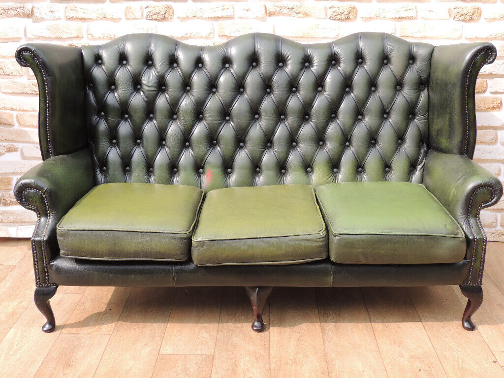Genuine Leather High Back Queen Anne Chesterfield Sofa Uk Delivery In Eltham London Gumtree