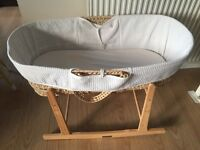 Moses Basket with Rocking Stand + Bath Seat