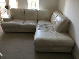 Sofa- light cream leather corner sofa