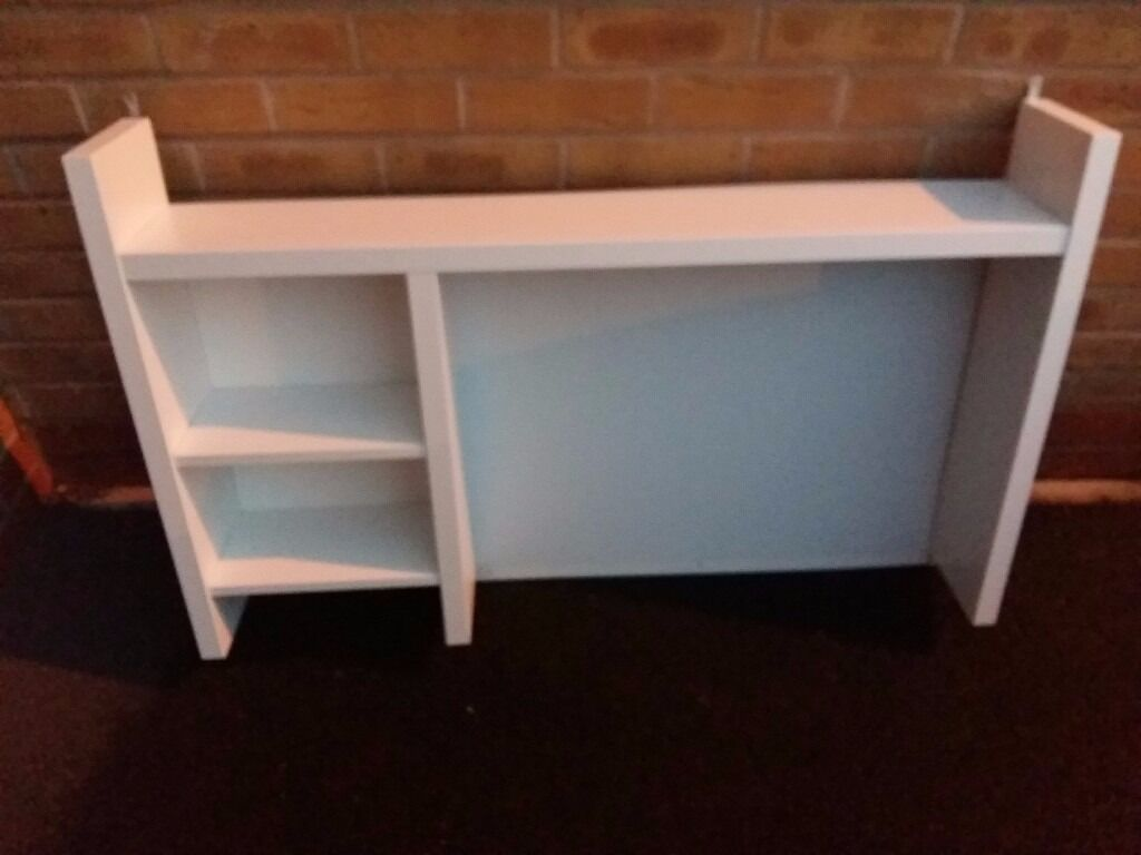 White Desktop Shelves With Magnetic Whiteboard Add On Unit