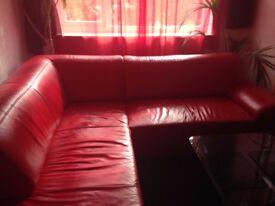 2 Red Italian Leather Corners