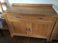 Freestanding solid beech kitchen cabinet