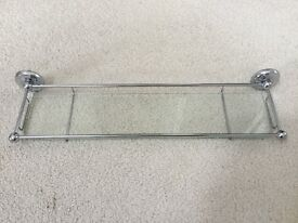 B&Q wall mounted chrome framed glass shelf