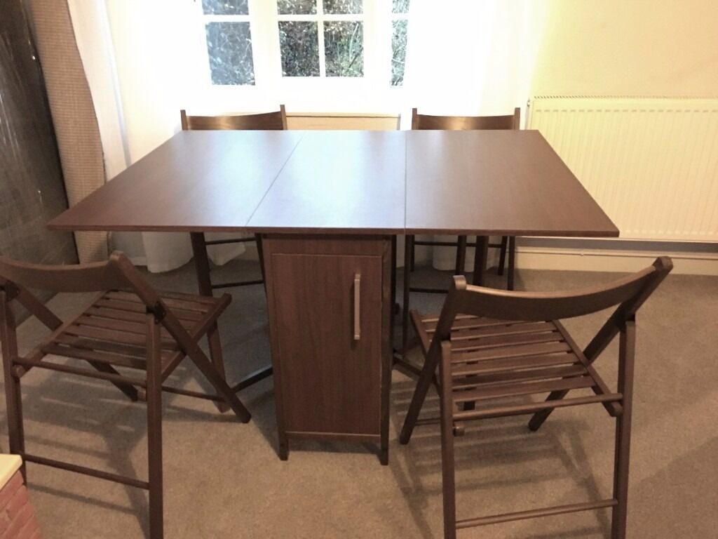 Butterfly kitchen table and chairs - Folding Dining Table And Chairs Butterfly Wood Like New