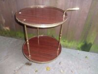Round Hostess Trolley With Brass Handle Delivery available