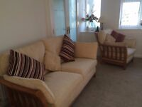 Cream wooden frame three piece fabric chairs and settee, Excellent condition