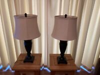 Two dark brown table lamps