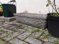 BRICK EFFECT stone mix planters vintage 1980s x2