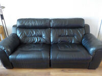 Electric Recliner Black Real Leather Sofa