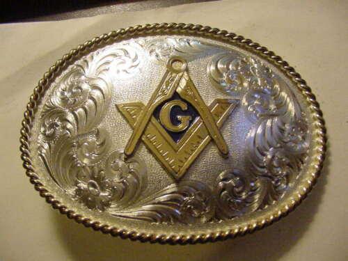 Montana Silversmiths Belt Buckle  Masonic Mason