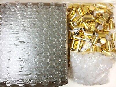 10ml PLAIN 1/3 oz Clear Glass Roll on Bottles With Aluminum Gold Cap & Roller](Clear Glass Bottles)