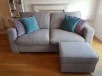 Furniture Village 3 seater sofa and footstool