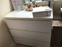 IKEA MALM large chest of 3 drawers