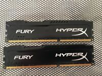 HyperX Fury 16GB (2x8GB)1600MHz DDR3 Black