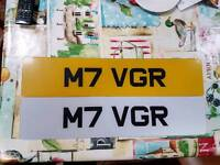 Personalised plate. M7 VGR, Mk 7 Volkswagen Golf R vw