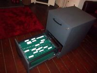 2 Drawer Metal filing cabinet, lockable + key + suspension inserts. Document tools valuables storage