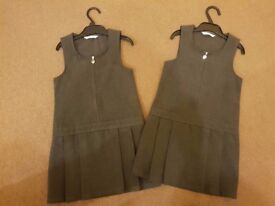 Two M&S Grey Pinafore Dresses - 4-5 years