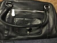 Brand new with plastic protection over zips ICANDY EAST WEST BAG EMILIA BLACK LEATHER, NURSING BAG