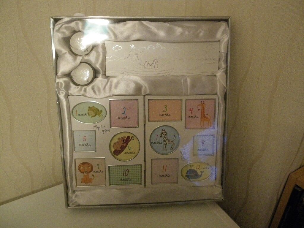 babies 12 month photo frame, first curl, first tooth and birth certiicate boxes brand new