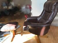 Debenhams Leather rmchair with stool