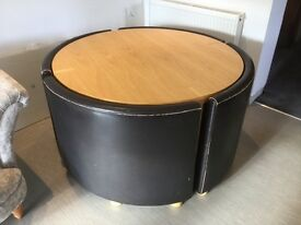 FABWooden Round Table & Brown Leather Chairs (fit into table), paid £1200 new, now selling for £100
