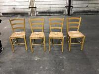 Four wood wicker chairs free to a good home
