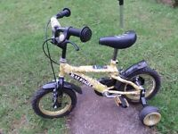Boy's bicycle, Raleigh Desert Storm camouflage design, with stabilizers