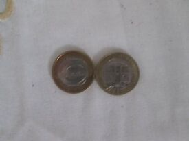 £2 - 2 pound set of london underground train and roundel 2013 circulated coins