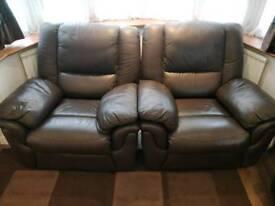 Dark Brown Leather Reclining Sofa Set (3 Piece) - 3 seater (x1) & 1 seater (x2)