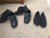 Boys school shoes x 2 and pair of PE pumps uk size 2 lots on sale can deliver, take a look