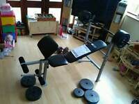 Weight Bench with Leg Curl + 30Kg + Dumbbells extra 24Kg
