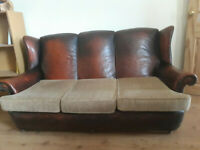 Comfortable Large sofa Original Leather with replaced parts. See on the picture