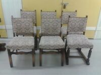 6 dining chairs, solid oak, clean cushiopn, carved leg & back, vintage, antique, no carver