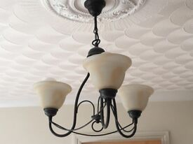 3 light pendant fitting black with frosted glass shades