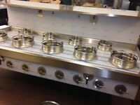 CHINESE WOK COOKER, NEW, 5+4, NATURAL GAS OR LPG, CHOICE OF BURNERS, NEW REMOVABLE CAST IRON RINGS!!