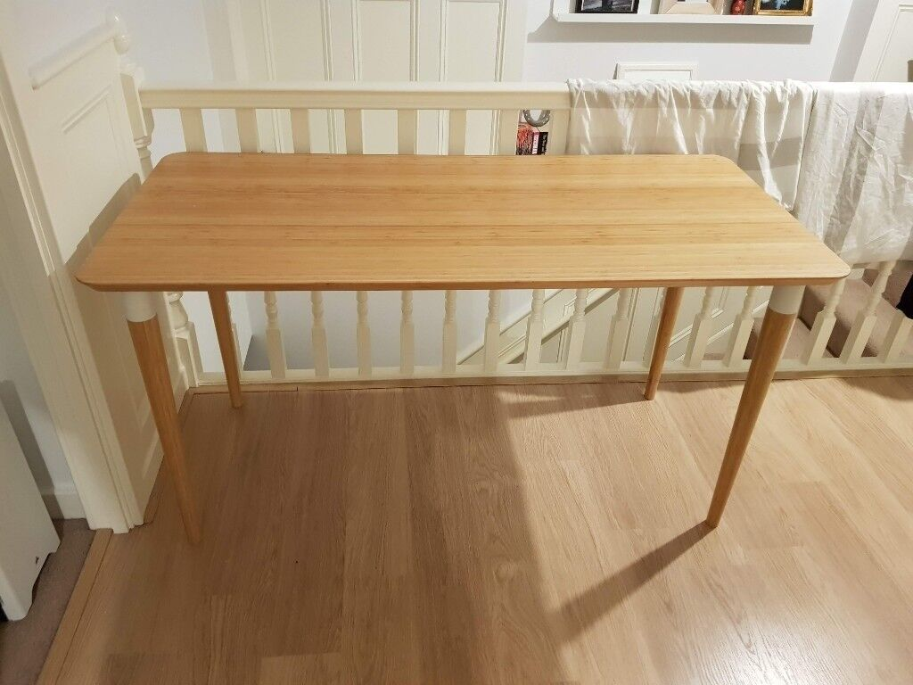 Ikea hilver bamboo table desk with bamboo monitor stand in